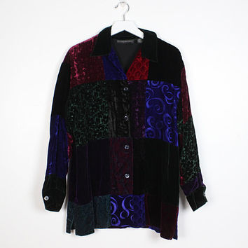 Vintage 1990s Velvet Boyfriend Shirt Patchwork Textured Burn Out Soft Grunge Gypsy Soft Goth 90s Duster Jacket Blazer Top Banana Republic L