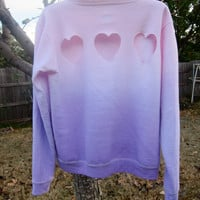 Triple Heart Cut-out Back Pastel Pink and Purple Ombre Dip-Dyed Light Fleece Sweatshirt- SIZE SMALL