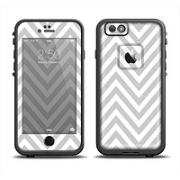 The Gray & White Sharp Chevron Pattern Apple iPhone 6 LifeProof Fre Case Skin Set