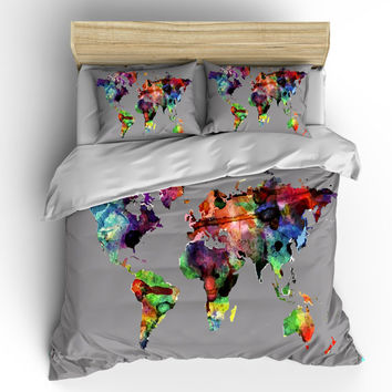 Custom Bedding Duvet Cover-Watercolors on Grey World Map - Tw, Qu or Ki, Pricing Starts Shams