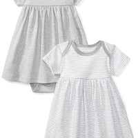Moon and Back Baby Girls' Set Of 2 Organic Short-Sleeve Dresses