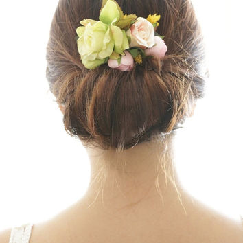 Bridal Hair Accessory, pink ranunculus & green rose, Silk Flower Hair comb, Bridesmaid, Rustic Chic Romantic outdoor wedding woodland