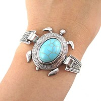Boho Chic Sea Turtle Bracelet in Silver with Turquoise Beaded Detail