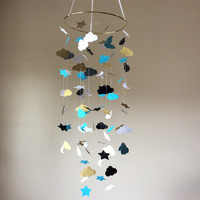 White, Black, Turquoise and Glittered Gold clouds, moon and stars mobile. Baby Nursery mobile, Modern crib mobile, nursery mobile
