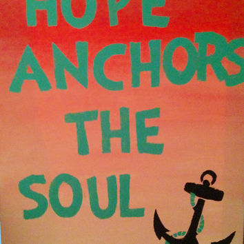 Pink ombre background, blue writing, and an anchor design