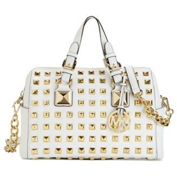 MICHAEL Michael Kors Handbag, Grayson Stud Medium Chain Satchel - Michael Kors Handbags - Handbags & Accessories - Macy's