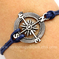 compass bracelet, antique silver compass bracelet, deep blue wax cords bracelet