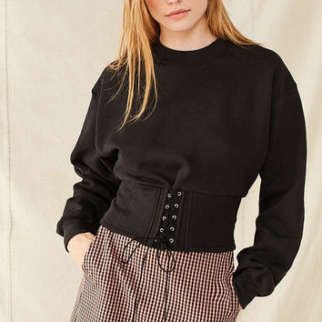 Urban Renewal Recycled Tie-Front Corset Sweatshirt | Urban Outfitters