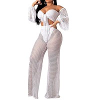 Women Sexy Two Piece Beachwear Crop Top Pant Set