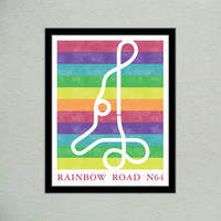 Mario Kart 64 Rainbow Road Track Map Poster | Super Mario Kart Map Print | Video Game World Map Art | Block Print Style | Video Game Art