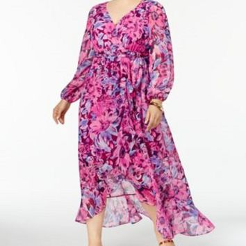 $99 New SANGRIA Women Plus Size Floral Printed Belted Maxi Dress Pink Size 22W