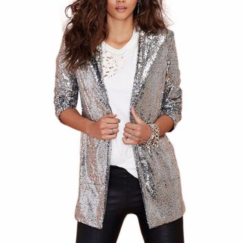 Long Sleeve Sequined Blazer Cardigan