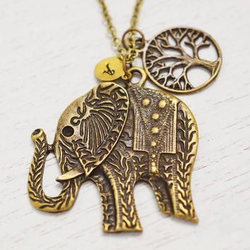 long elephant necklace,wildlife animal jewelry,tree elephant charm,monogram,bff gift,good luck symbol,initial necklace,yoga jewelry,promise