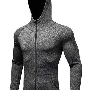 camgo Men's Lightweight Sports Active Jacket with Front Pockets - Hoodie Style