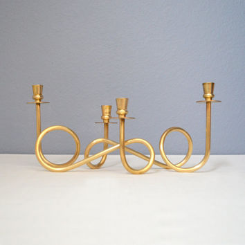 Two Mid Century Swedish Brass Double Candle Holders in the Style of Josef Frank