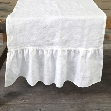 Pure Washed Linen Ruffles Table Runner