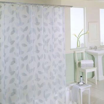 Modern Leaf 70-Inch x 72-Inch Silver Shower Curtain