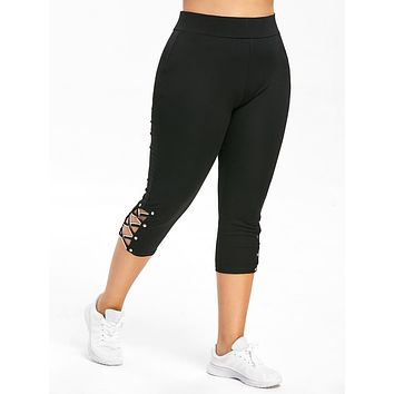 Wipalo Plus Size Criss Cross Capri Leggings Fashion Skinny Solid Mid Waist Women Pants Capri 2019 Summer Lady Trousers 5XL