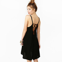 Black Halter Strappy Backless Chiffon Mini Dress