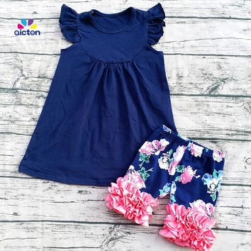 Set With Navy Floral top And Ruffle Shorts
