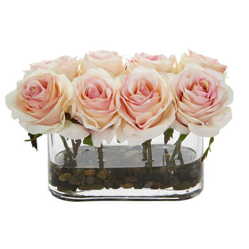 """5.5"""" Blooming Roses in Glass Vase Artificial Arrangement 