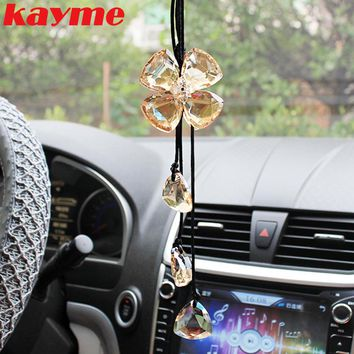 Kayme car hanging accessories mirror pendant crystal car ornaments rear view charms accessories auto interior decoration 2017