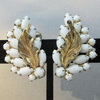 Signed WEISS Vintage Big Milk Glass Cabochon LEAF Earrings