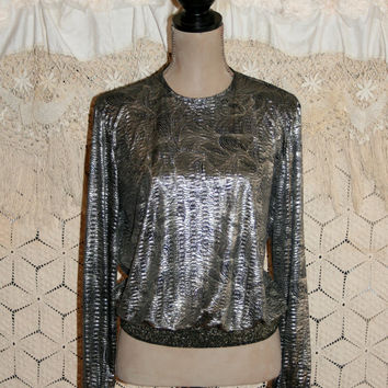 Slinky Shimmery Blouse Oversize Blouson Disco Club Top 70s 80s Dressy Blouse Long Sleeve Silver Black Swirl Hipster Medium Womens Clothing