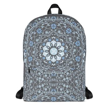 Blue Mandala in Gray Backpack