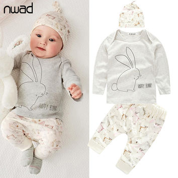 Newborn Baby Girl Boy Clothes Toddler Bunny Baby Clothes Set Long Sleeve T Shirt+Pants + Hat 3 PCS /Set 2017 New Arriavl FF014