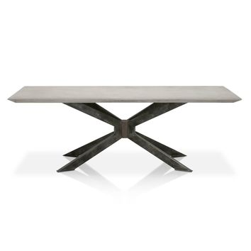 Industry Rectangle Dining Table Ash Grey Concrete, Distressed Black Iron