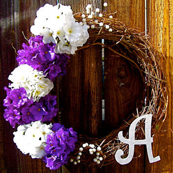 "Personalized 18"" Wreath, Hydrangea Wreath, Front Door Decor, Monogrammed Wreath, Year Round Wreath, Etsy Wreath, Spring Wreath"
