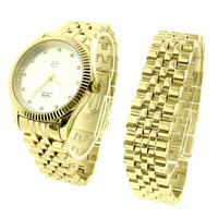 Mens Gold Tone Watch Bracelet Gift Set Jubilee Metal Band Fluted Bezel Jojino