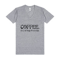 Coffee. A Hug In A Cup. Tee (Artistamp)-Athletic Grey T-Shirt L