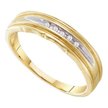 10kt Yellow Two-tone Gold Mens Round Channel-set Diamond Wedding Band 1/20 Cttw