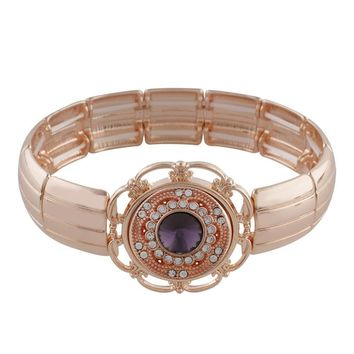 "Snap Charm Rose Gold Plated Stretch Bracelet Includes Standard 20mm 3/4"" Diameter Shown Fits Ginger Snaps"