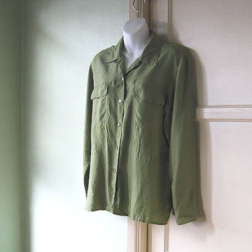 Minimal Olive Green Shirt - Olive/Army Green Silk Shirt with Safari Pockets - Large-XL Drapey Green Blouse - Masculine Detailed Woman's
