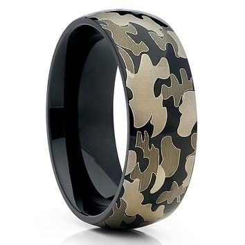 Titanium Wedding Band - Camo Ring - Black Titanium Ring - Engagement Ring