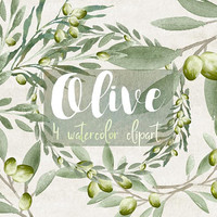 Olive | rustic clipart, branch clip art, olive leaf, watercolor, branch, olive, wedding clipart wedding invitation,olive logo,olive branches