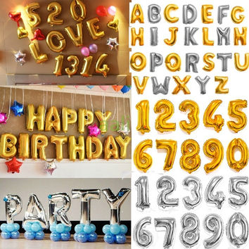 "1pc 42"" Large Gold/Silver Alphabet A-Z foil Letters number 0-9 Balloons New Year Birthday Party Wedding Decoration love Ballon"