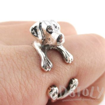 3D Labrador Retriever Shaped Animal Wrap Ring in 925 Sterling Silver | Sizes 4 to 8.5