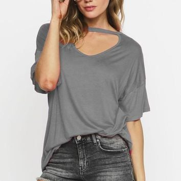 Casual Choker Style Top - Dark Charcoal Gray