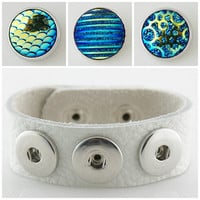 Noosa style 24 CM full grain leather bracelet with 3 Royal Blue Chunk Charms fit Ginger snaps