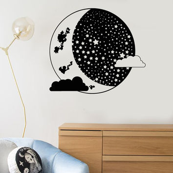 Vinyl Wall Decal Moon Crescent Clouds Bedroom Decoration Art Stickers Mural Unique Gift (ig5002)