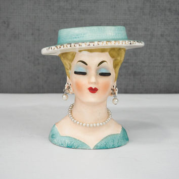 """BRINNS 5"""" Lady Head Vase, Turquoise Dress and Hat with Faux Pearl Earrings, Necklace"""