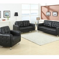 2 pc Megan Black bonded leather sofa and love seat set with tufted back, seat and arms and chrome legs