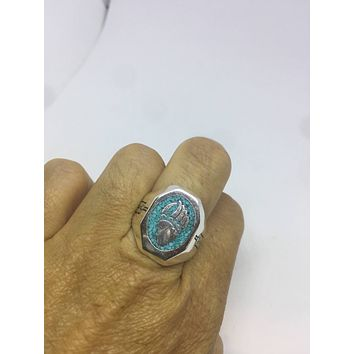 Vintage 1980's Native American Style Southwestern Real Turquoise Stone inlay Men's Bear Paw Ring