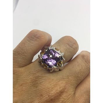 Vintage Handmade Genuine Purple Amethyst Golden Citrine Filigree Setting 925 Sterling Silver Gothic Ring