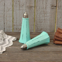 Salt and Pepper, Shaker Set, Mint Green, Green, Eiffel Tower, Tower Shaker, Shabby Chic, Glass, Wedding, Hand Painted