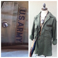 Vintage military army shirt olive drab. Grunge punk camo style